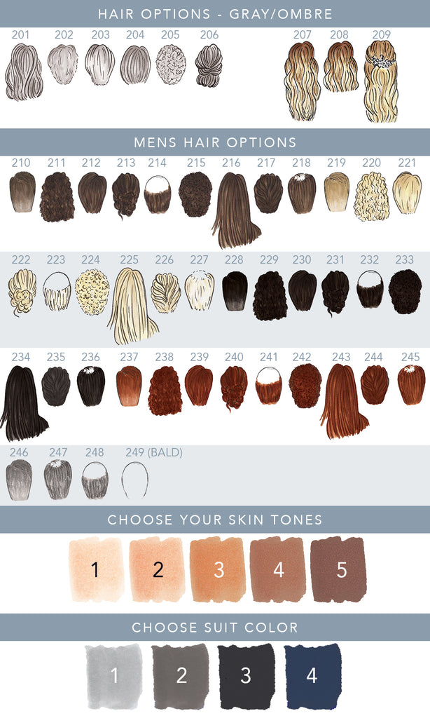 more hair options and skin tons for bride & groom ornament