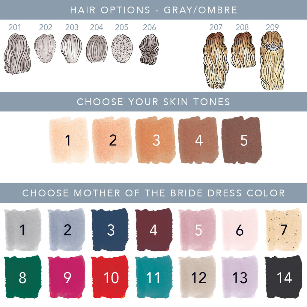 Extra hair, skin and dress color options for Mother of the bride ornament