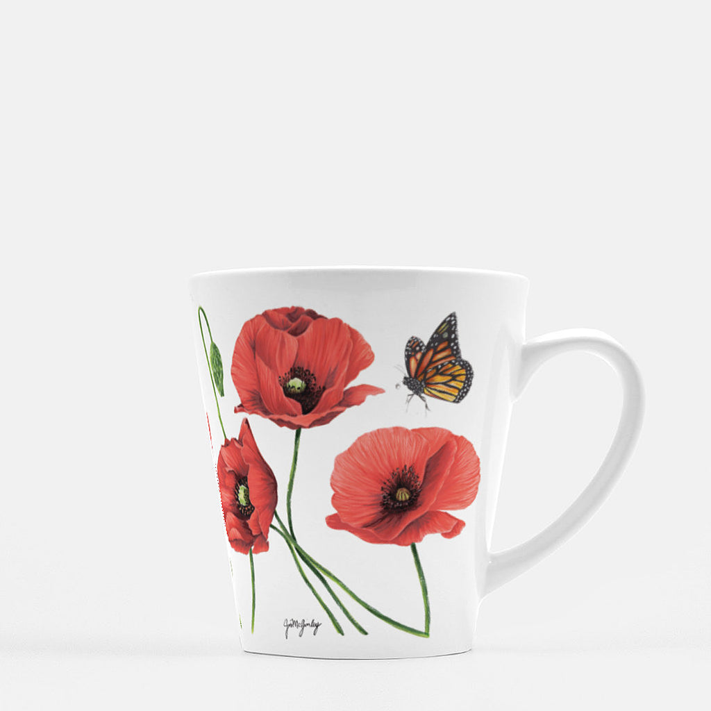 Red Poppies and butterfly Mug by JesMarried