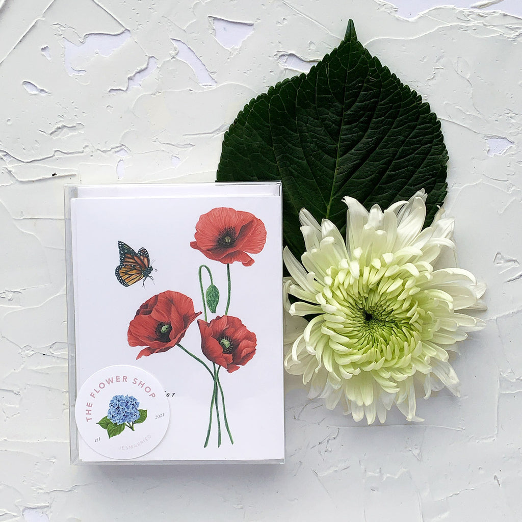 So Sorry For Your Loss red Poppies Greeting Card box set of 6