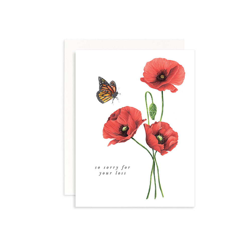 So Sorry For Your Loss red Poppies Greeting Card