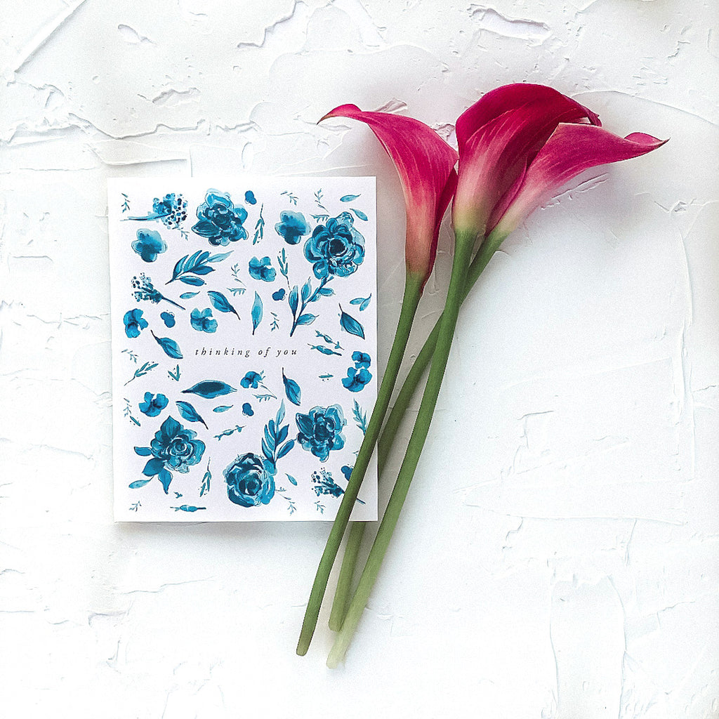 Thinking of You Delft Blue Floral Greeting Card