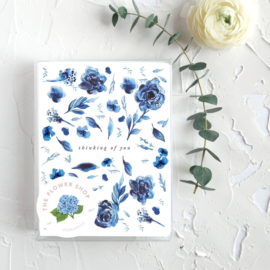 Thinking of You Delft Blue Floral Greeting Card box set of 6