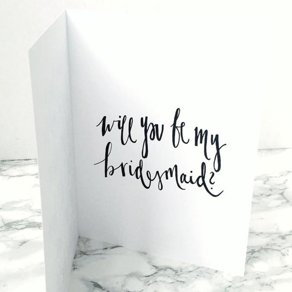 will you be my bridesmaid? notecard that says I don't have a date set and I'm not sure where but I do know for sure you better be there by JesMarried