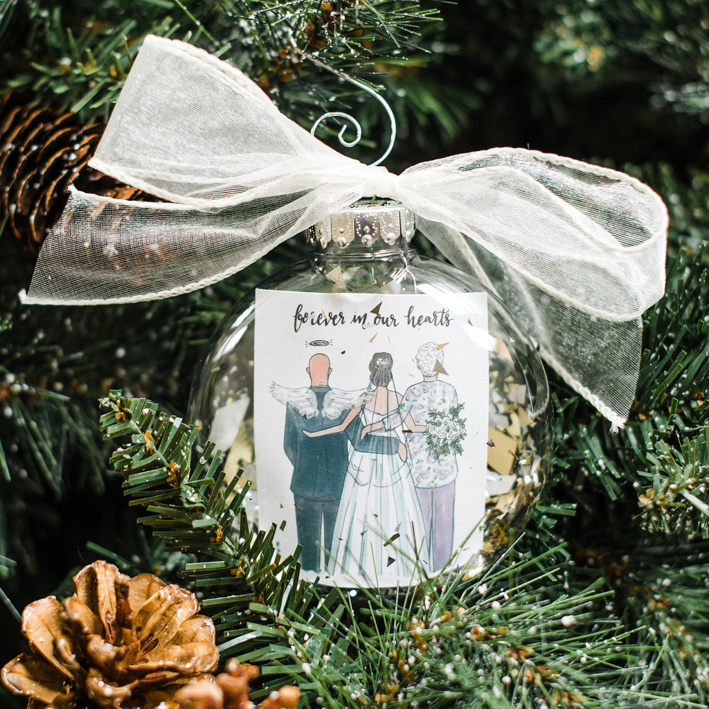 Custom 3 person remembrance wedding ornament with bride and family member in memory such as father of the bride, grandpa of the bride, grandma, sister or mother.
