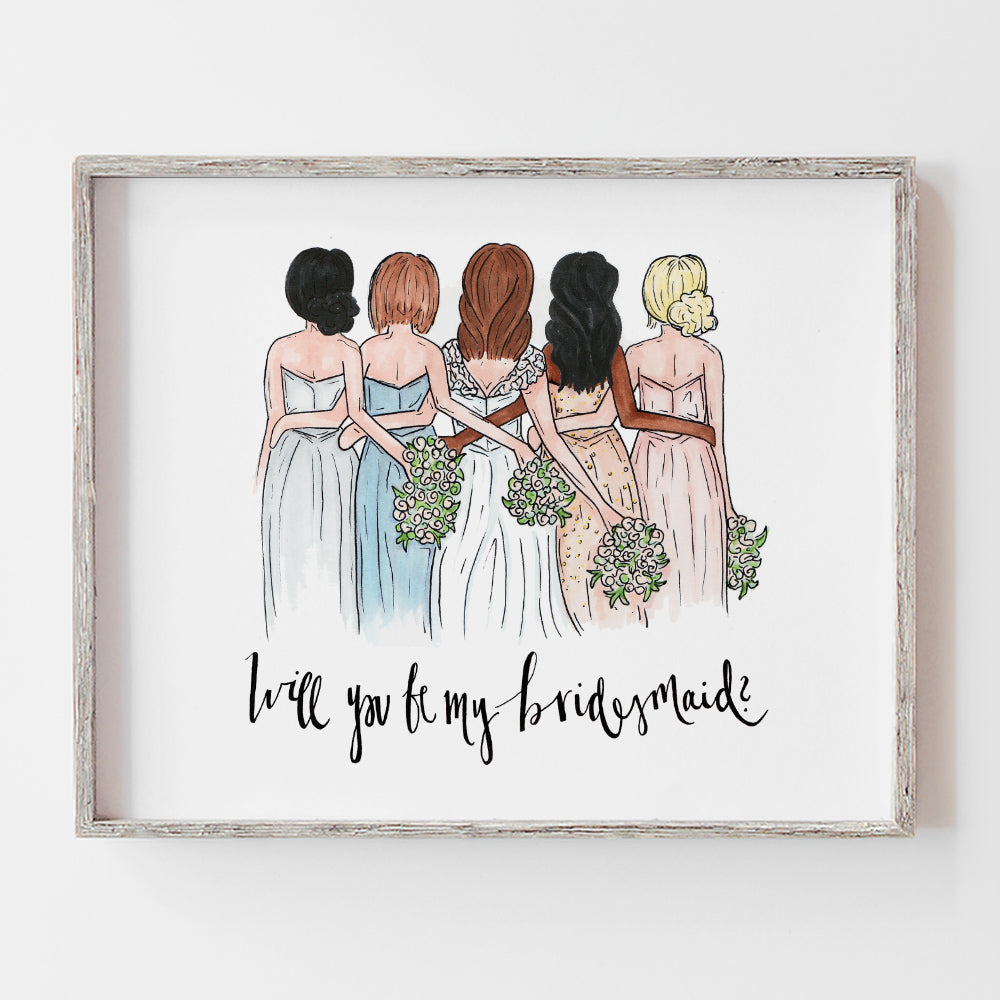 Custom drawing of bridal party as a thank you wedding day gift by JesMarried