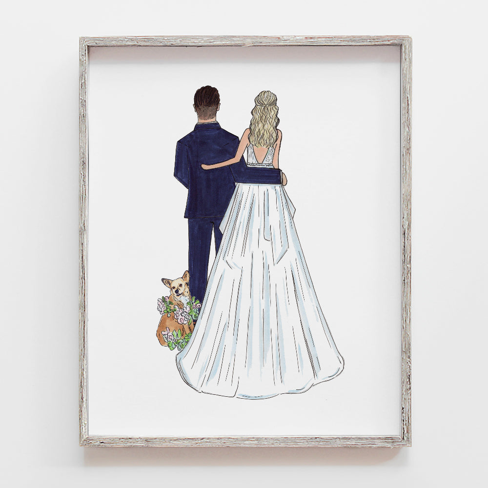 Custom drawing of bride and groom, newlyweds, mr and mrs, husband and wife for the first anniversary paper gift or wedding day gift by JesMarried