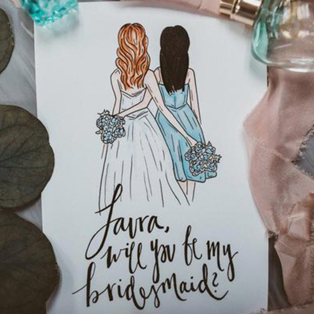 "Custom drawing of bridesmaid for a bridal party proposal box to pop the question ""will you be my bridesmaid?"" by JesMarried"