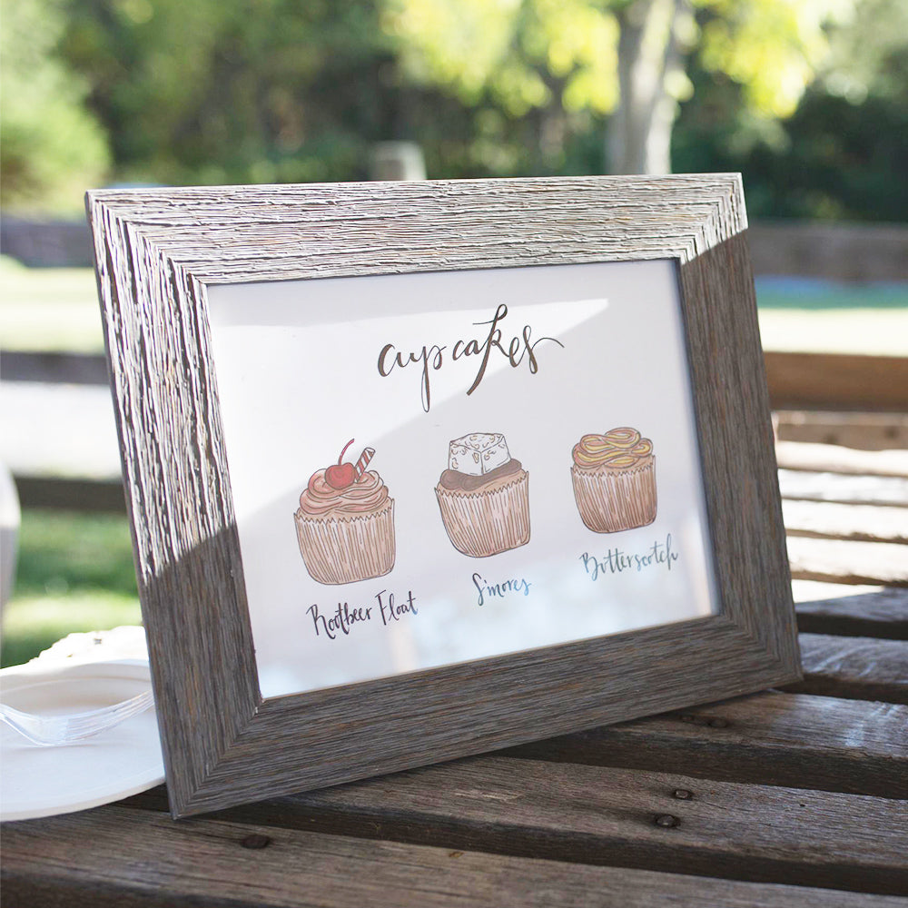 Custom cupcake flavor wedding sign perfect for a cupcake table at your outdoor reception by JesMarried