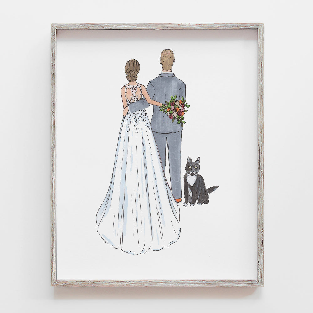 Custom bride and groom drawing gift with pets