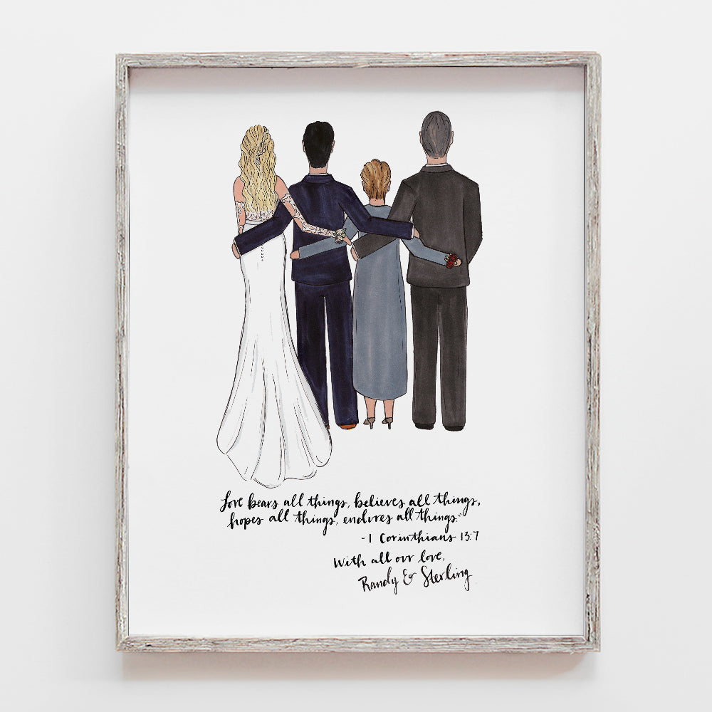 Bridal Gift From Mother: Custom Drawn Father Of The Bride Gift