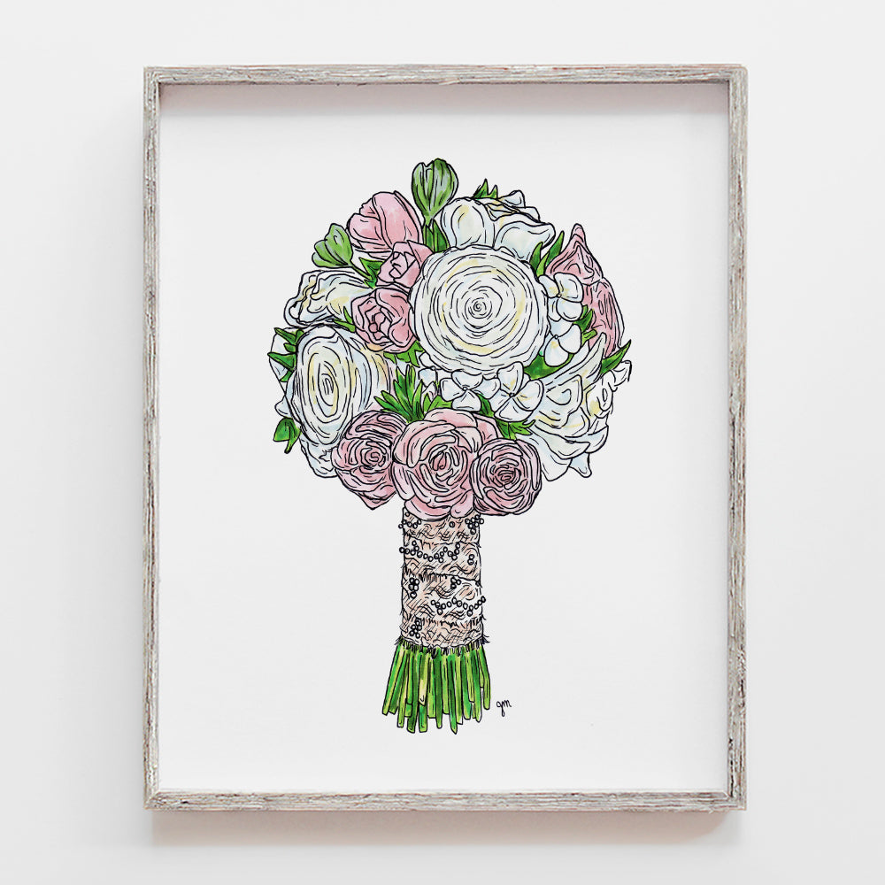 Custom drawing of wedding bouquet as a wonderful gift to a bride after the wedding by JesMarried