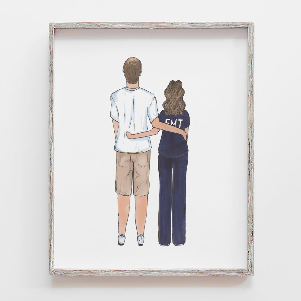 back facing custom family drawings by jesmarried