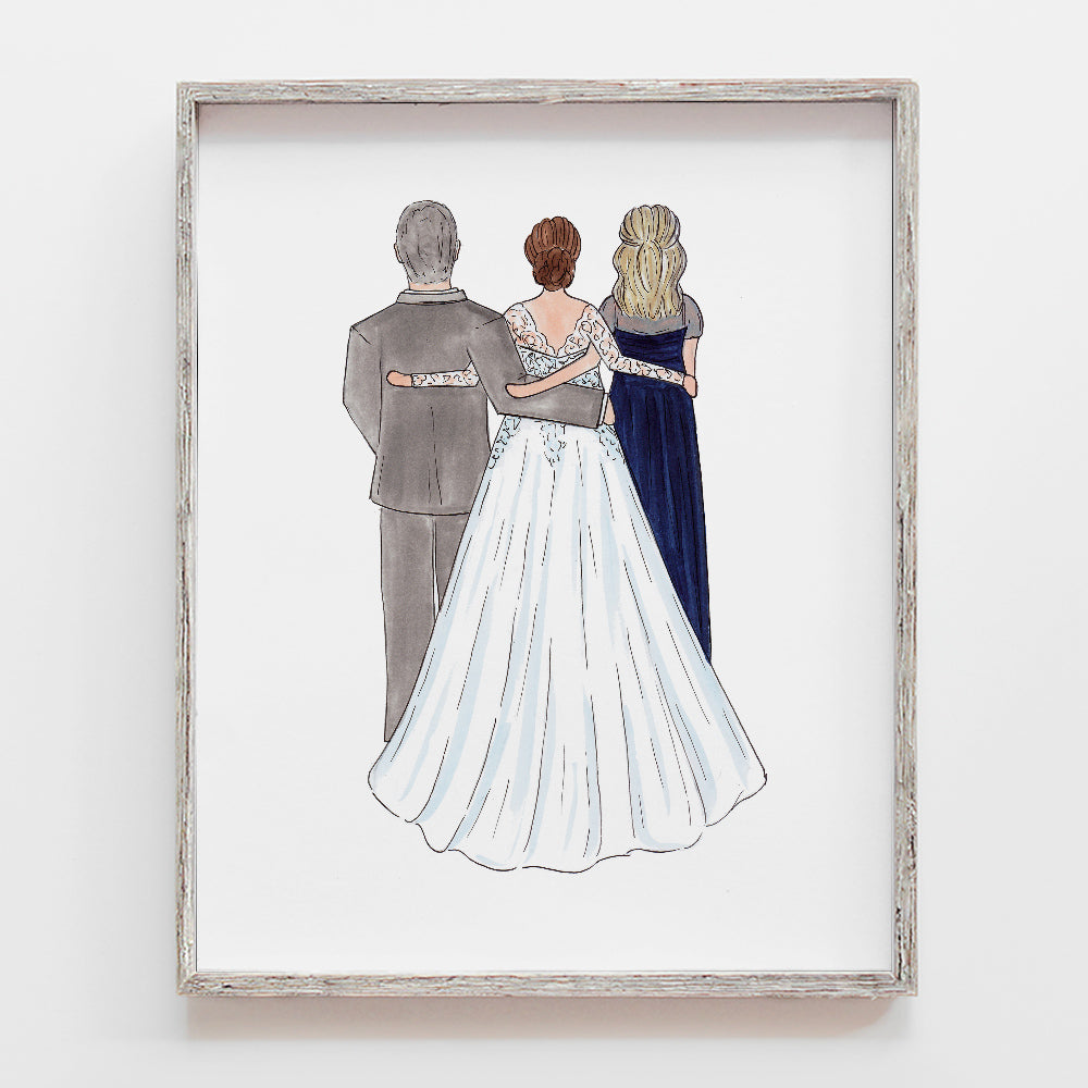 Custom drawing of father of the bride, mother of the bride, groom, bride, grandparents, mother of the groom, father of the groom. Illustration by JesMarried