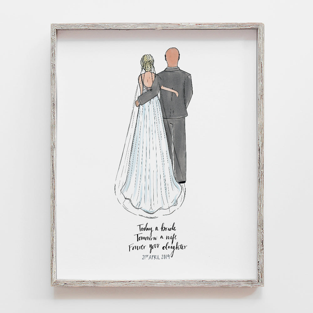 Custom drawing of father of the bride or groom with daughter. This could be with mother of the bride as well. Illustration by JesMarried