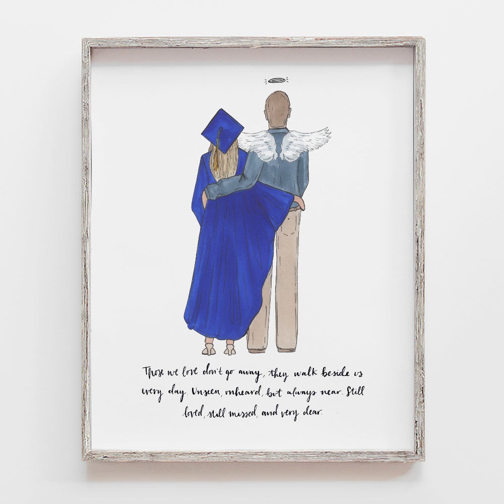 custom college graduate at graduation with family member in remembrance