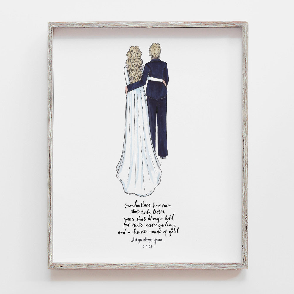 Custom Grandparents of Bride Wedding Drawing