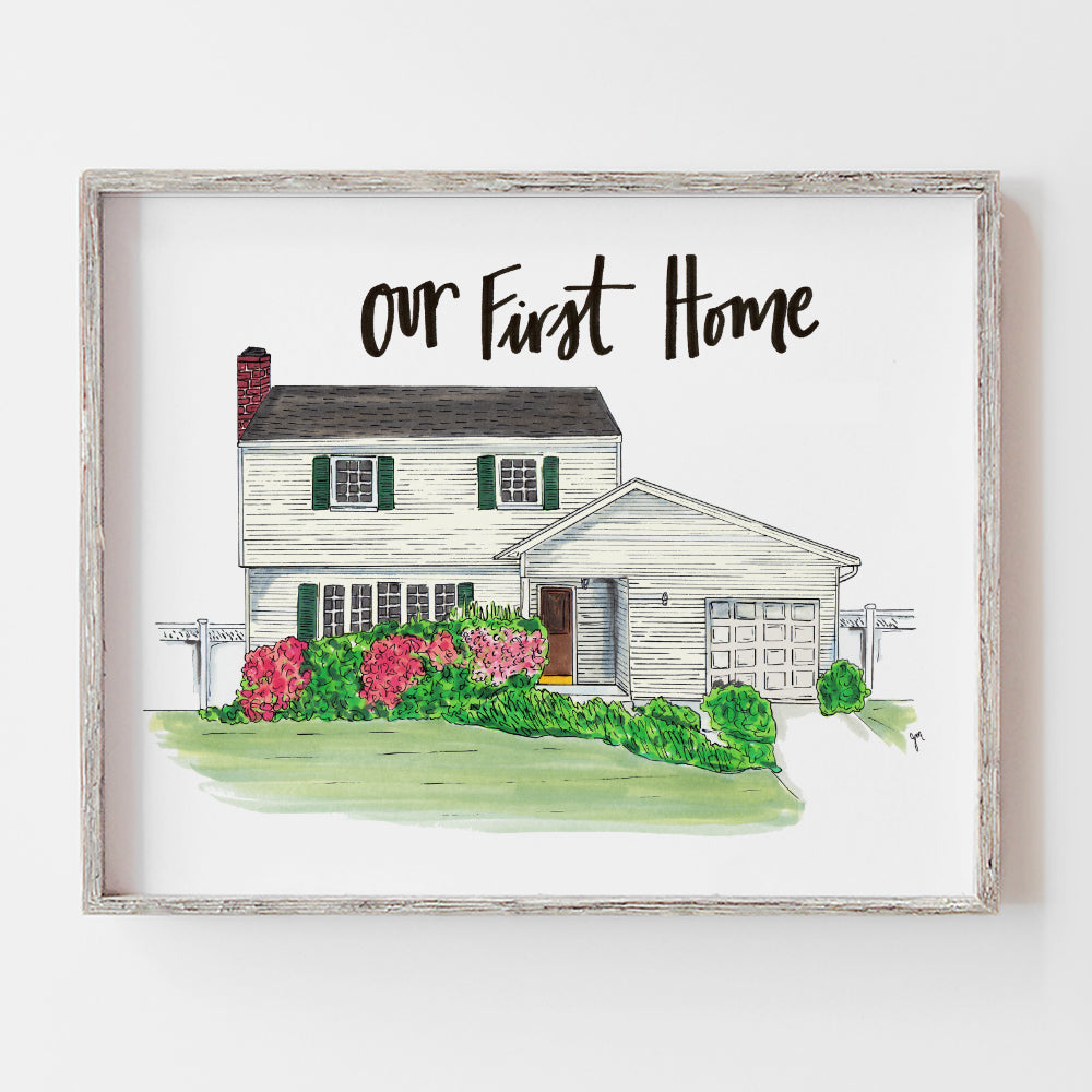 Custom drawn illustration of our first home, perfect for a housewarming gift by JesMarried