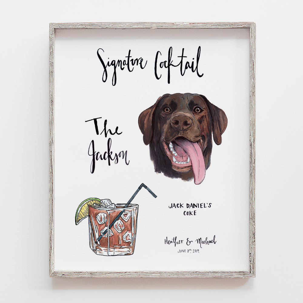 Custom signature cocktail sign with pet portrait by JesMarried