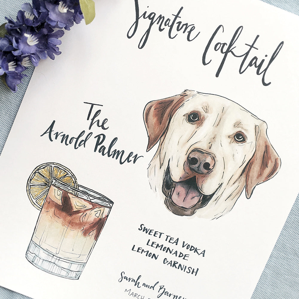 Custom signature cocktail sign with Labrador pet portrait by JesMarried