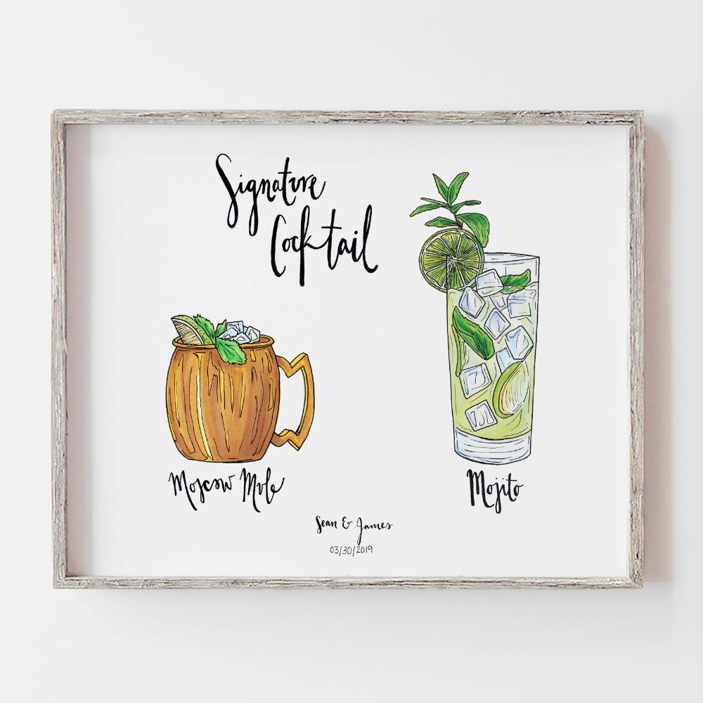 Custom signature cocktail drink sign for open bar by jesmarried