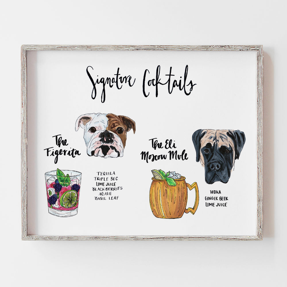 Custom signature cocktail drink sign for open bar with two dogs on the sign by jesmarried