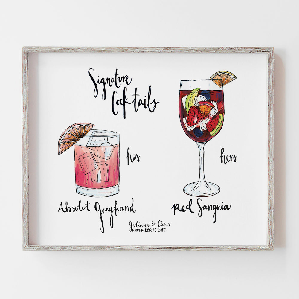 Custom signature cocktail sign sangria by JesMarried