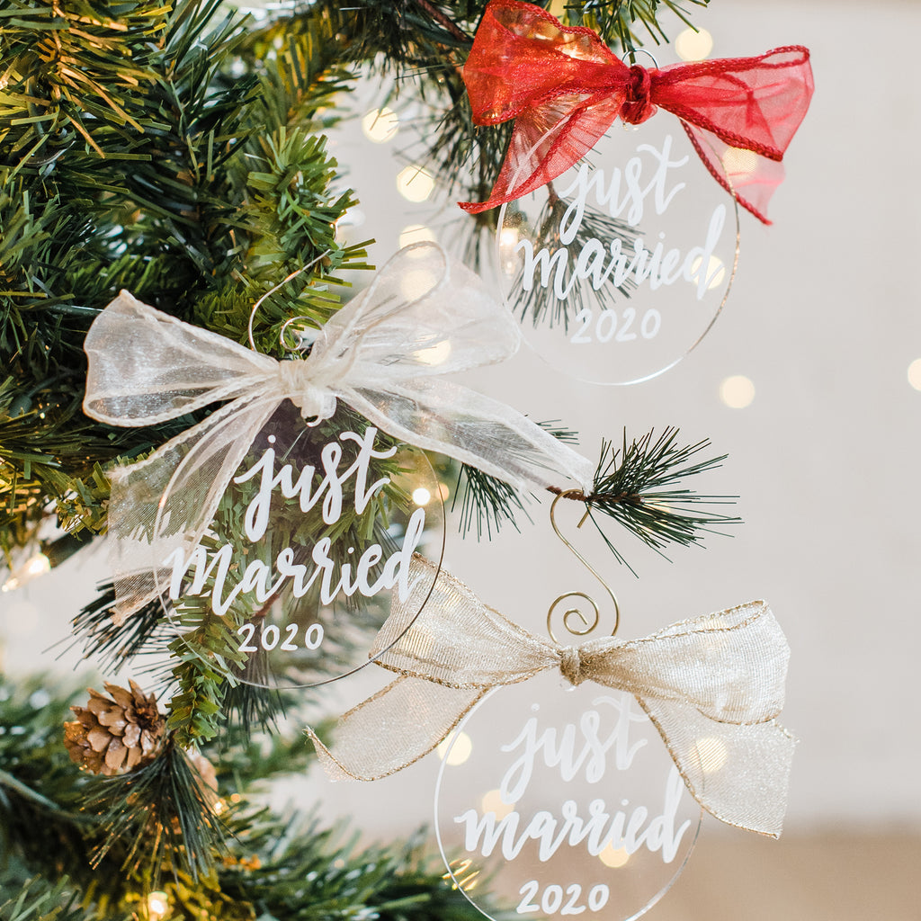 custom hand lettered just married with date acrylic ornament perfect to gift to bride and groom for christmas or at wedding