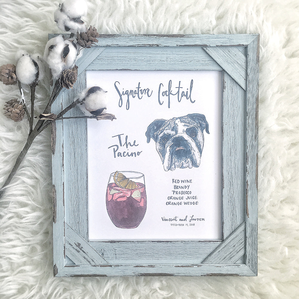 Custom signature cocktail sign to incorporate bull dog dog at wedding by jesmarried