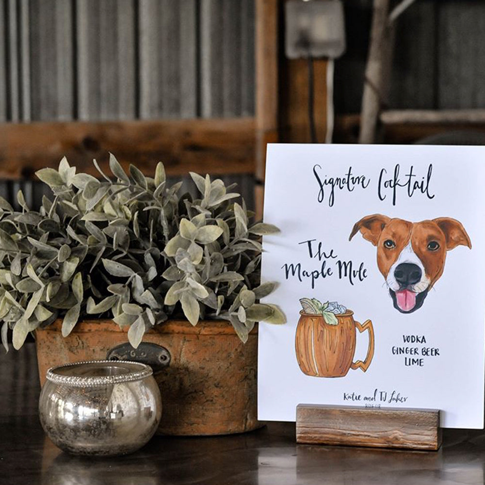 Custom signature cocktail sign to incorporate dog at wedding by jesmarried