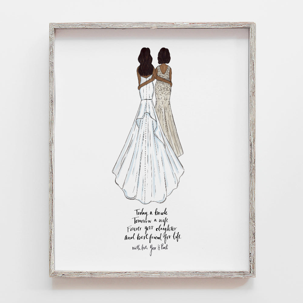 Custom mother of the bride drawing and thank you gift from daughter for wedding by JesMarried