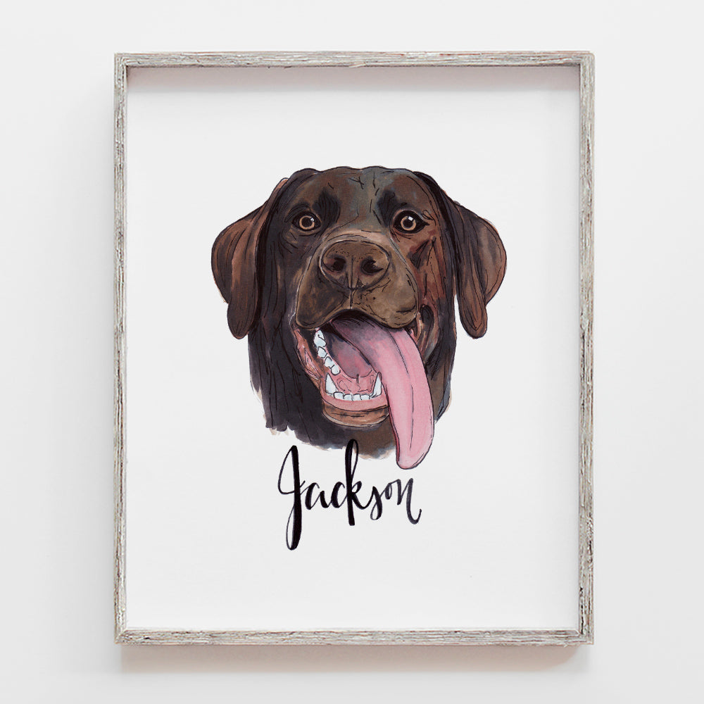 Custom pet portrait drawing of dog. This is a chocolate lab by JesMarried.