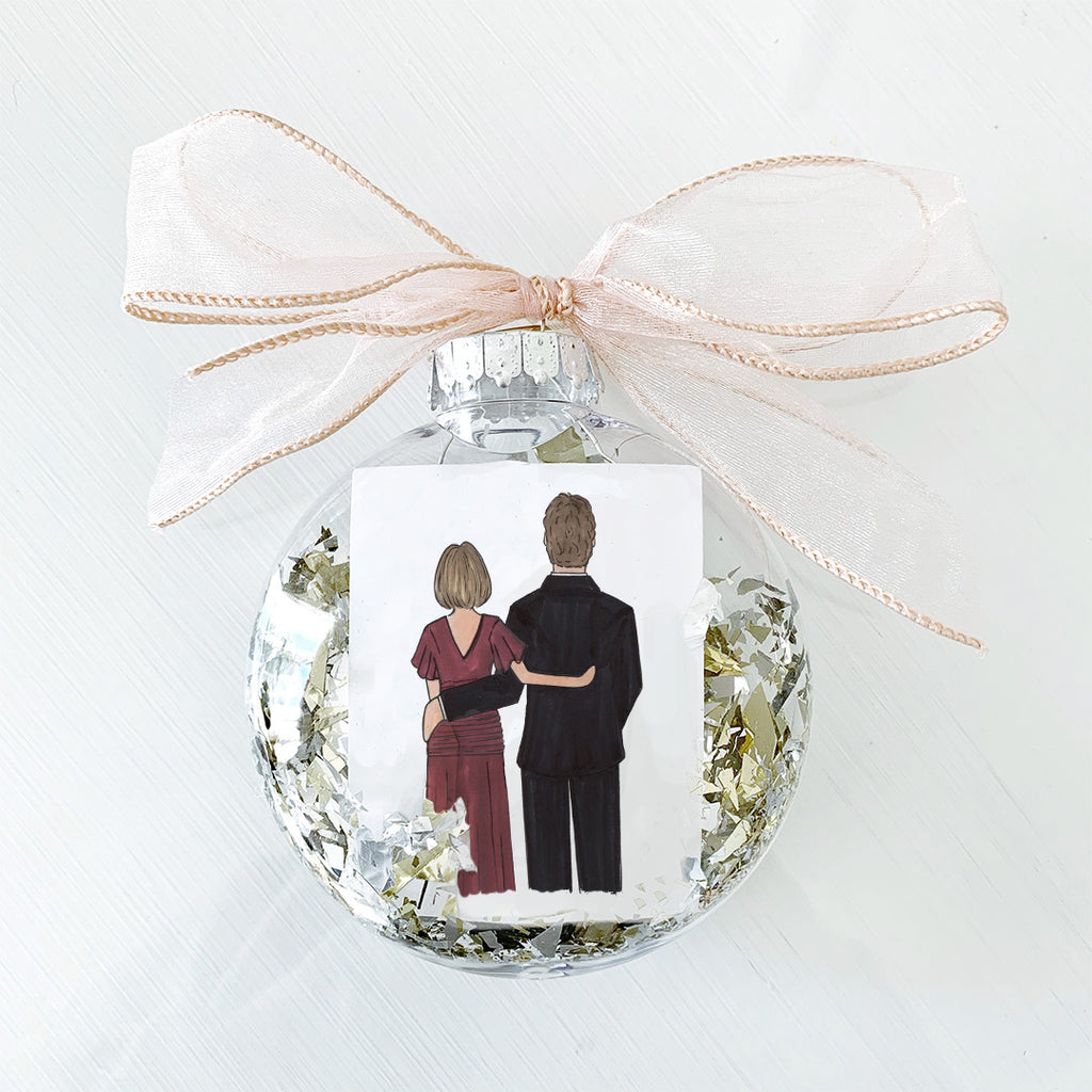 Mother of the groom wedding ornament gifted on christmas or as a thank you present on the day of the wedding from daughter in law or son