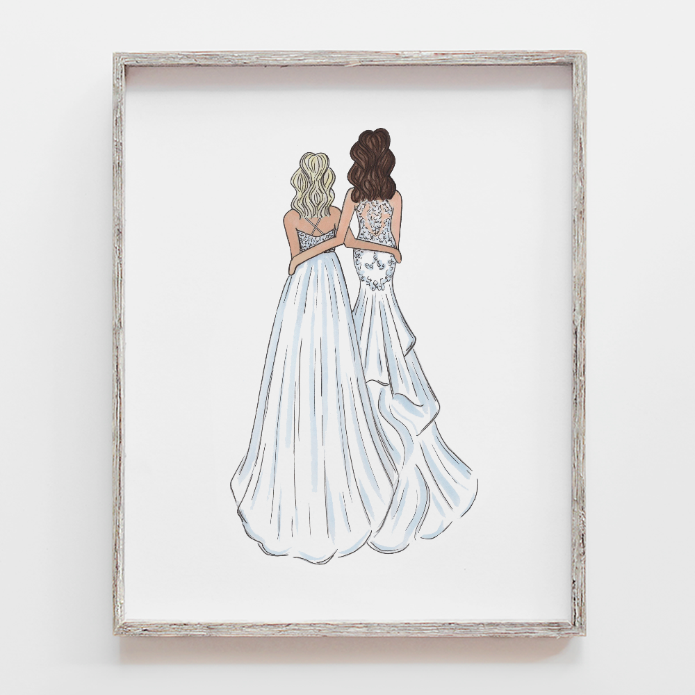 2 brides drawing