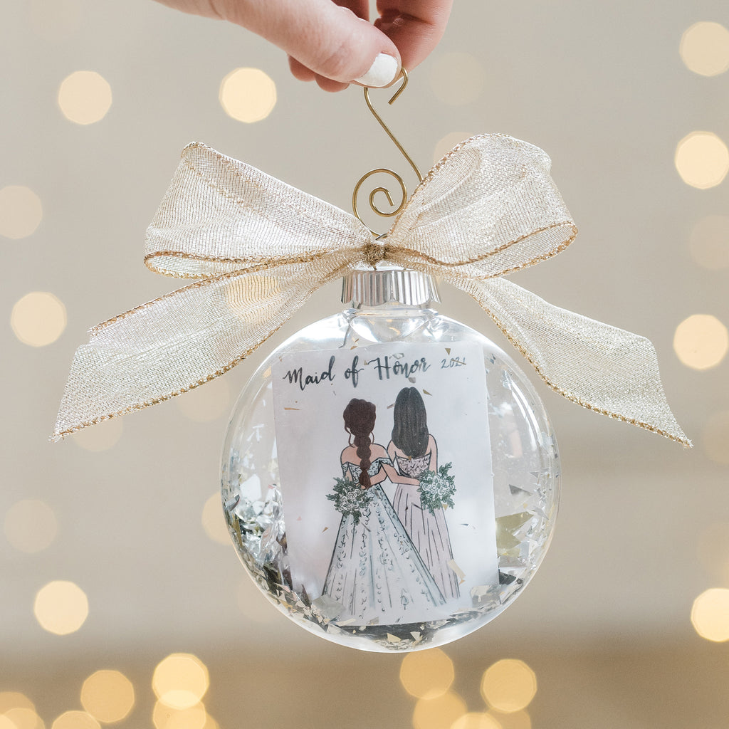 Bridesmaid or maid of honor wedding ornament gifted on christmas or as a thank you present on the day of the wedding from bride