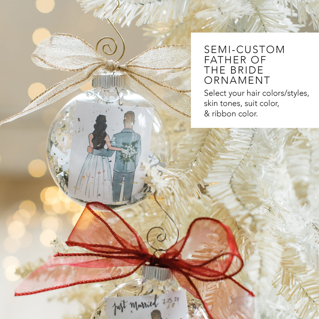custom father of the bride or step dad or uncle or grandpa christmas ornament from daughter