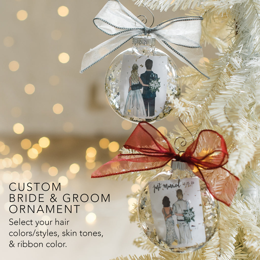 Custom bride and groom christmas holiday ornament for the just married or engaged bride and groom