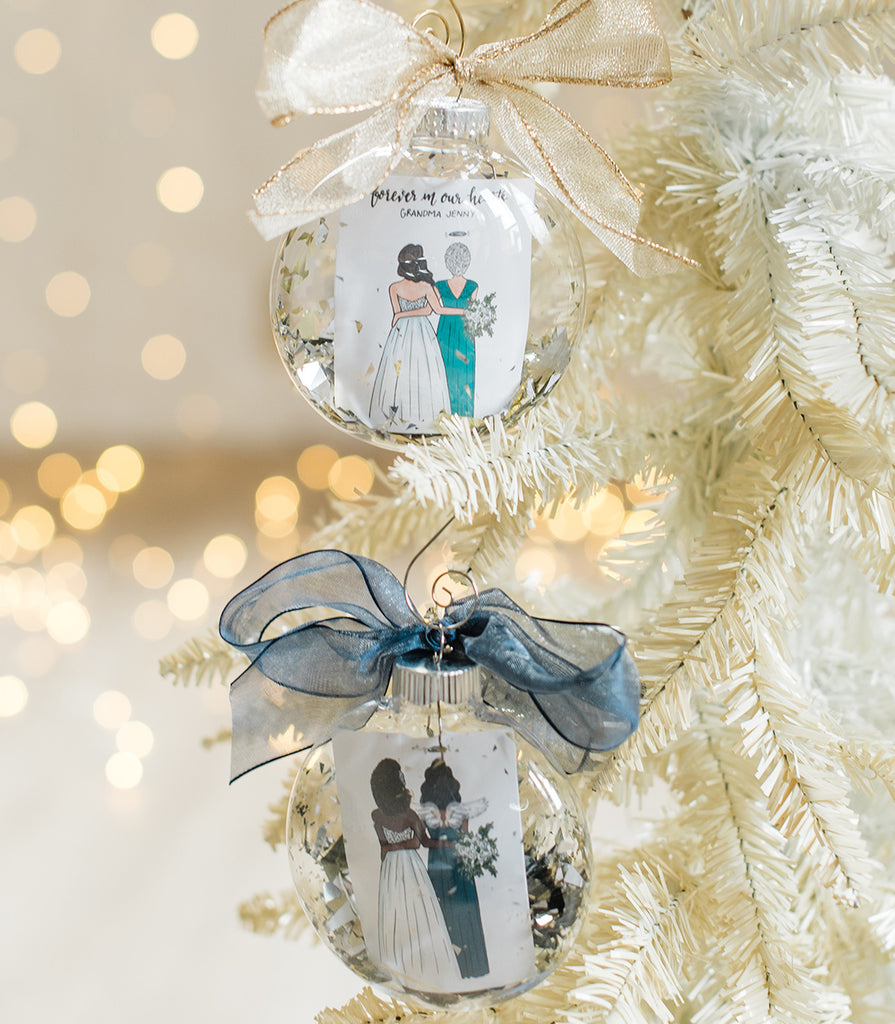 Custom remembrance wedding ornament with bride and family member in memory such as father of the bride, grandpa of the bride, grandma, sister or mother.