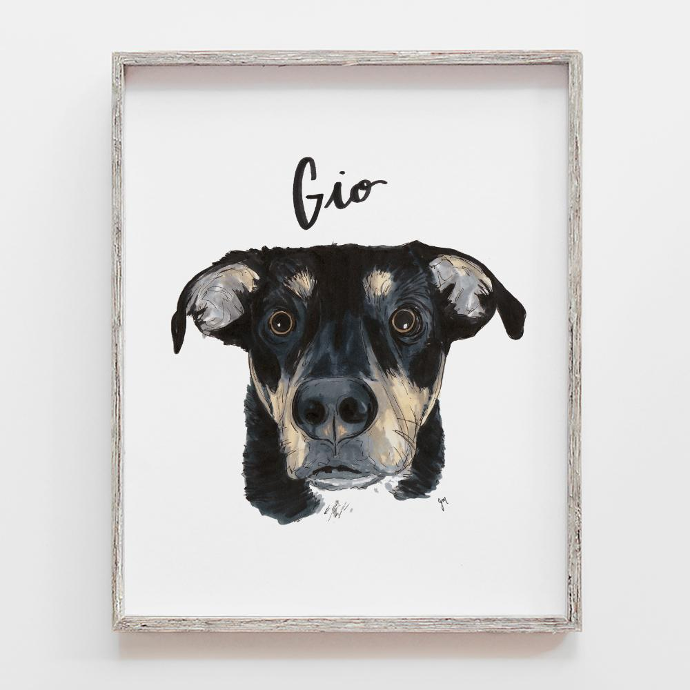 Custom pet portrait drawing of dog. This is a mutt dog illustration by JesMarried.