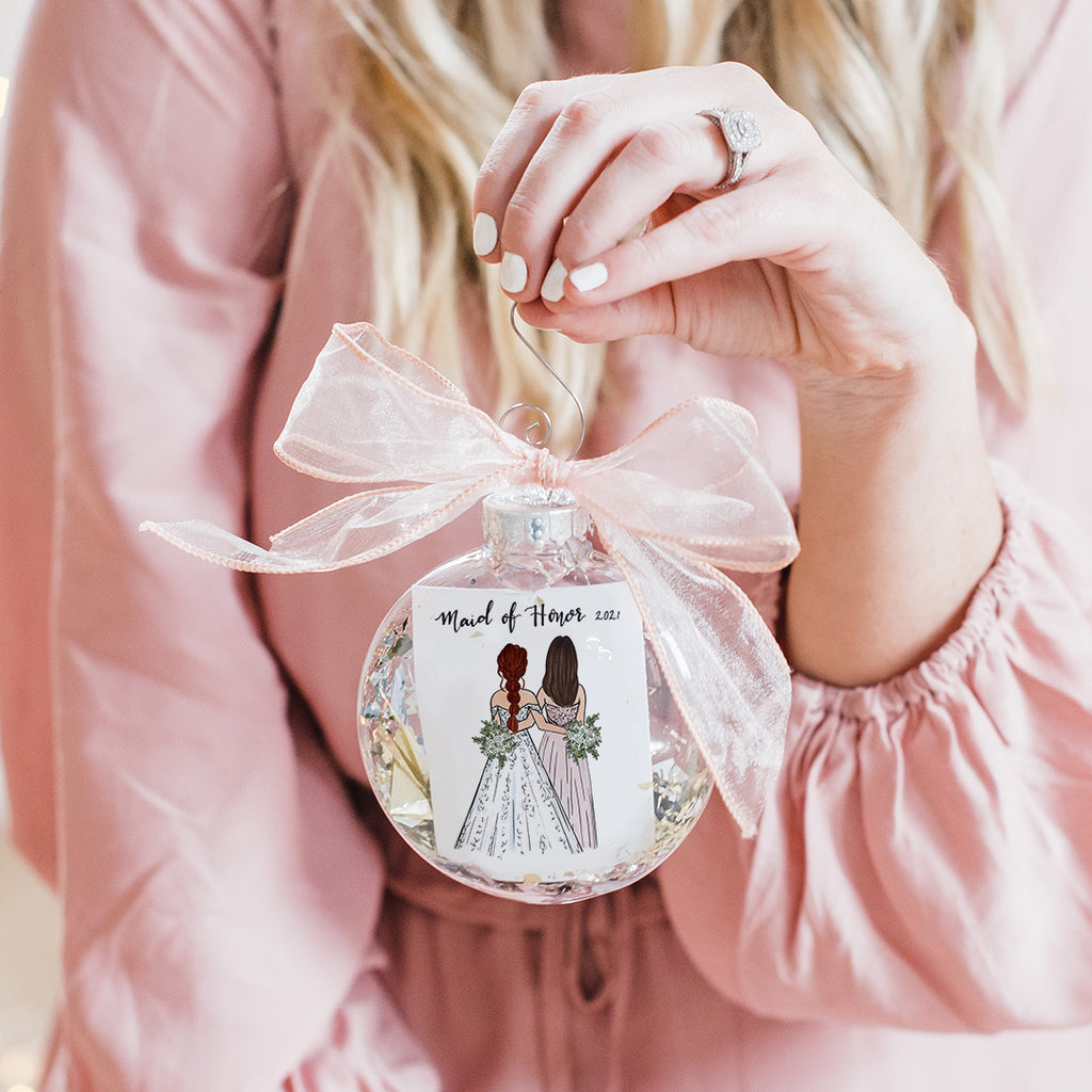custom sister of the bride or maid of honor christmas ornament from bride to sister