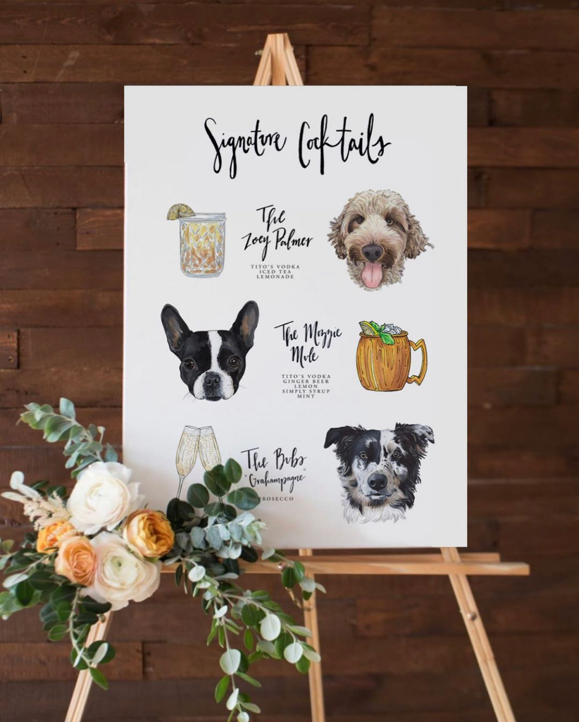 Custom Signature Pet Cocktail Sign