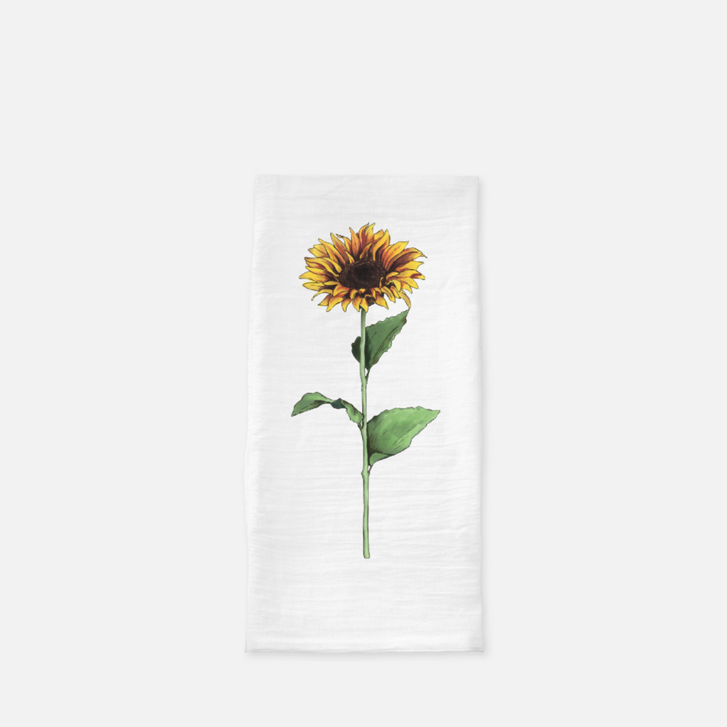 rustic yellow sunflower tea towel by jesmarried