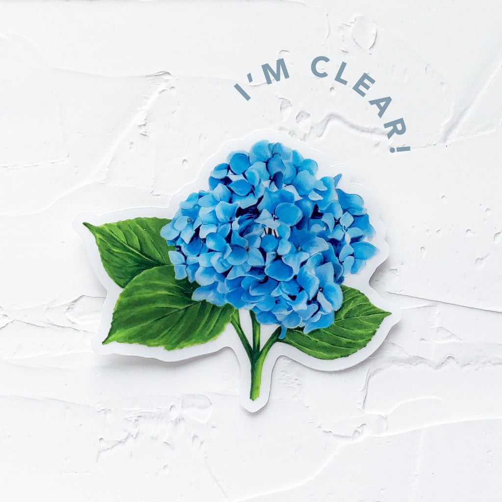 clear blue hydrangea sticker marker drawing by JesMarried
