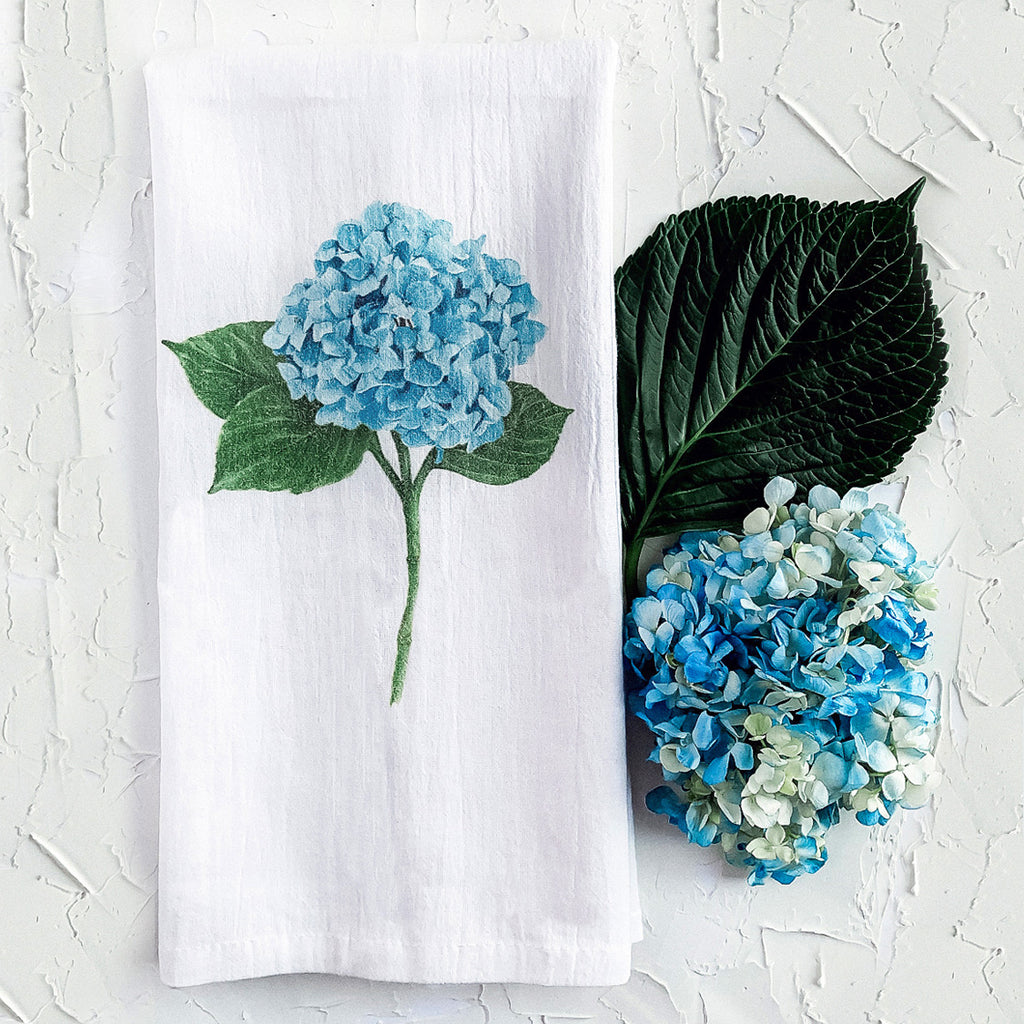 Blue Hydrangea flower art tea towel marker drawing by JesMarried