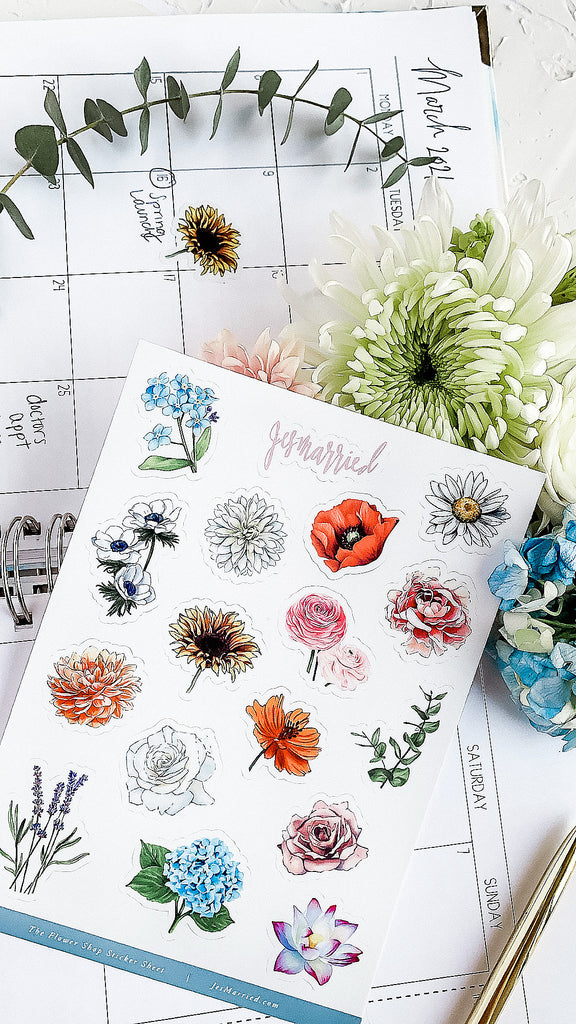 Flower sticker sheet of flower marker drawings by JesMarried