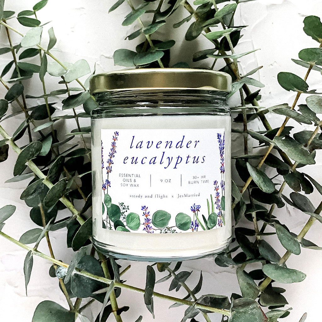 essential oil and soy wax lavender eucalyptus candle by jesmarried