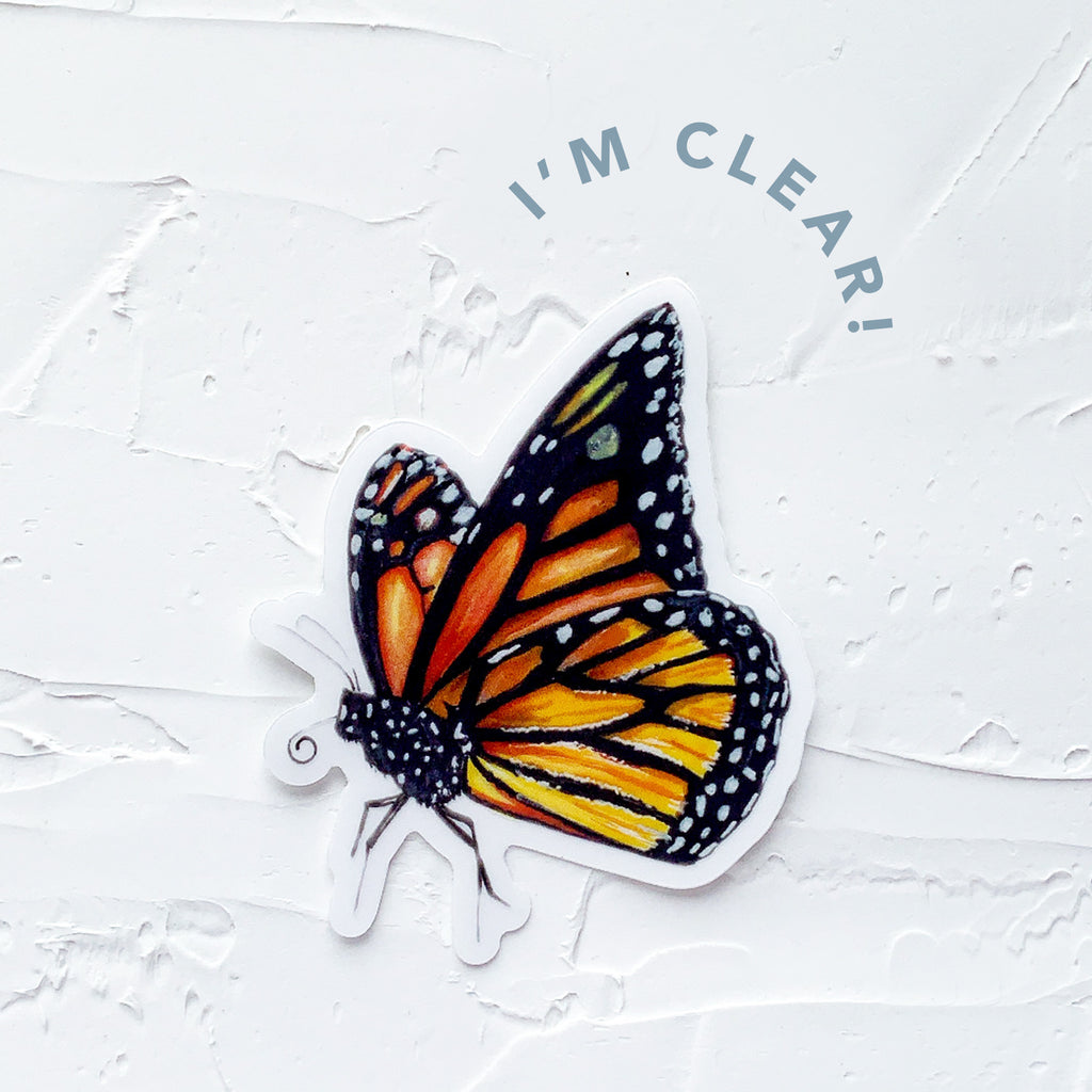 clear monarch butterfly sticker marker drawing by JesMarried