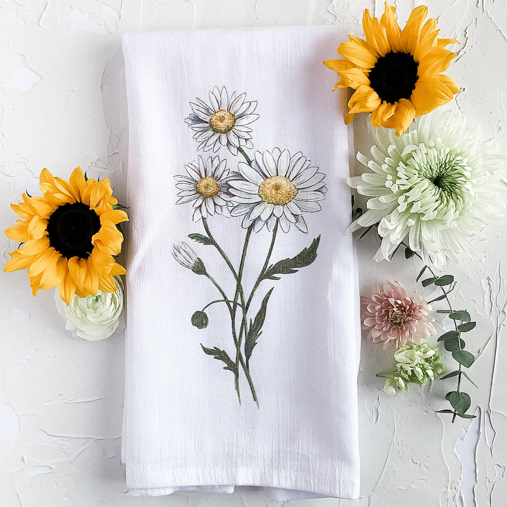Daisies tea towel for the rustic farmhouse home by JesMarried