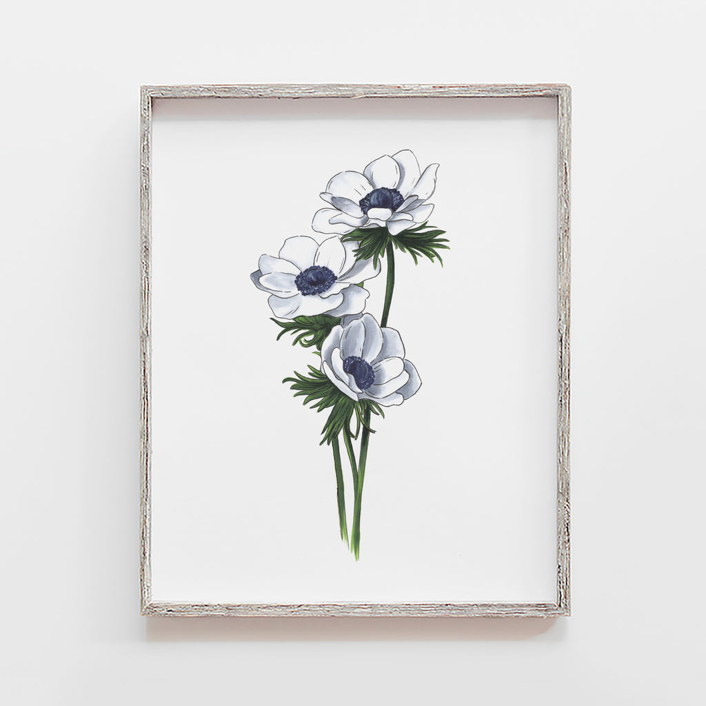 white anemone art print by JesMarried