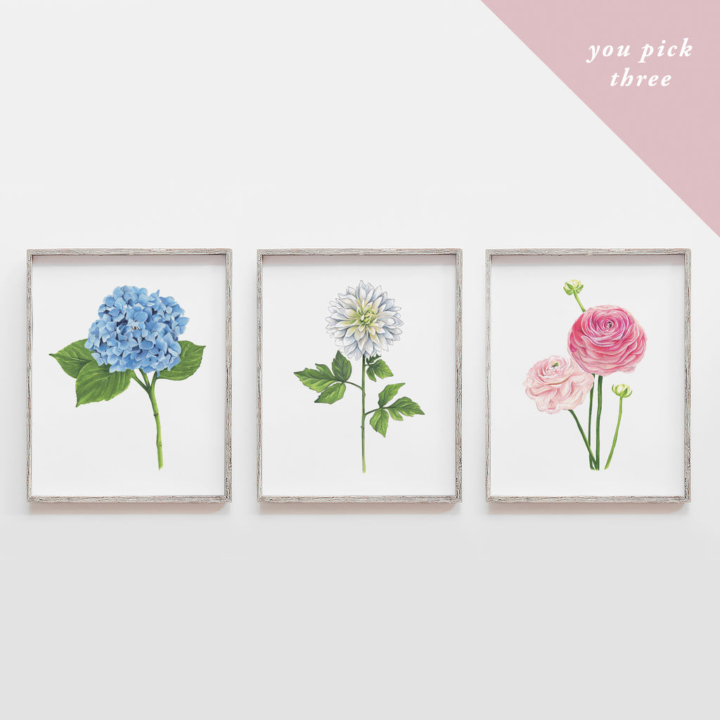 You Pick Three Flowers Art Print Set
